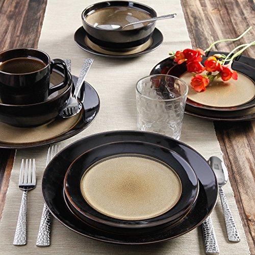 Taupe & Black Unique Collection Metallic Glaze Stoneware 16 Piece Dinnerware Set
