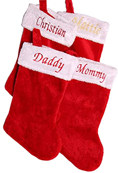 d5abde583 Treefrogg Apparel Set of 4 ~ Personalized Embroidered Christmas Stockings ~  Classic