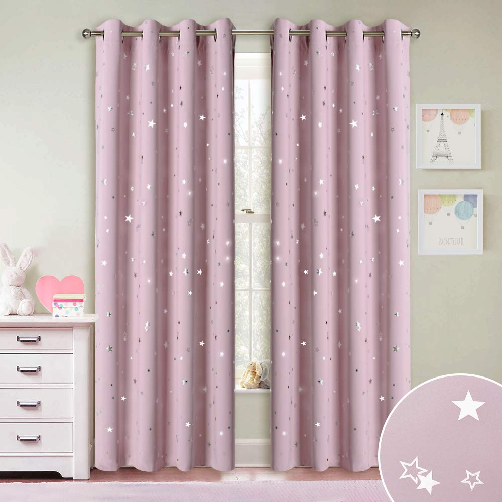 RYB HOME Decor Star Kids Curtains - Room Darkening Light UV Block Grommet Curtain Drapes Washable Panels for Bedroom Living Room Playroom Baby Nursery, Pink, Wide 52 x Long 84, 1 Pair by RYB HOME