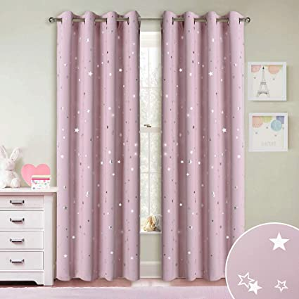 RYB HOME Kids Star Blackout Curtain For Nursery Decor With Grommet Top, Room  Darkening Light