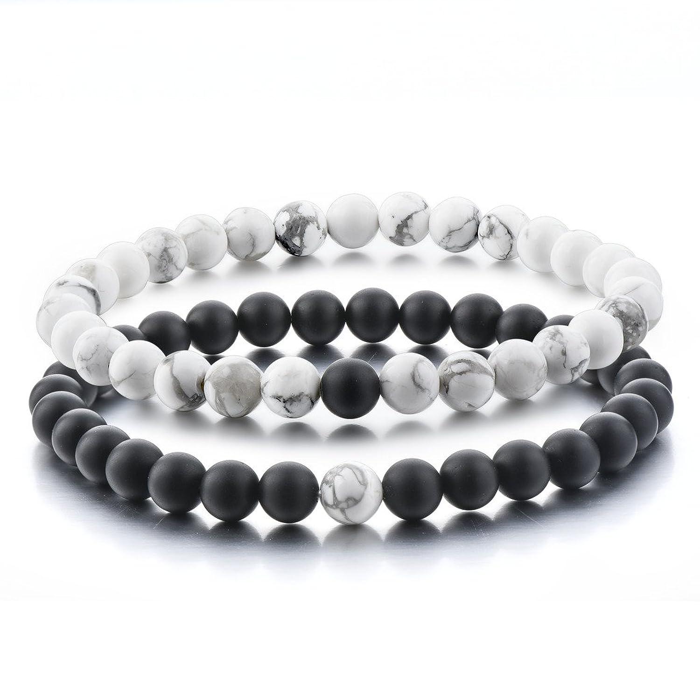 Amazon.com: Distance Bracelets for Lovers-2pcs Black Matte Agate ...