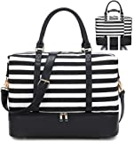 Travel Weekender Bag Canvas Overnight Carry on Shoulder Beach Tote Bag (Black Leather Black stripe with shoes…