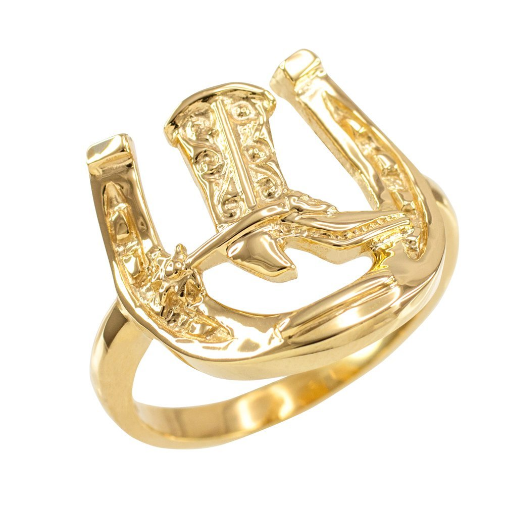 Men's 14k Yellow Gold Lucky Horseshoe with Cowboy Boot Ring (Size 16) by Horseshoe Jewelry