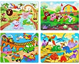 Wooden Jigsaw Puzzles Set for Kids Age 4-8 Year Old 60 Piece Colorful