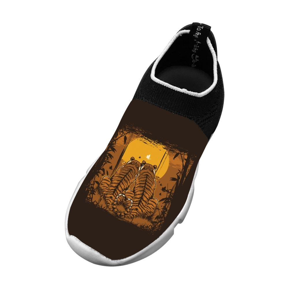 Owow Shoe Sports Shoes Tiger Love Slip-On Fly Knit Lightweight For Children Breathable Printing Sneakers 3 B(M) Us Big Kid