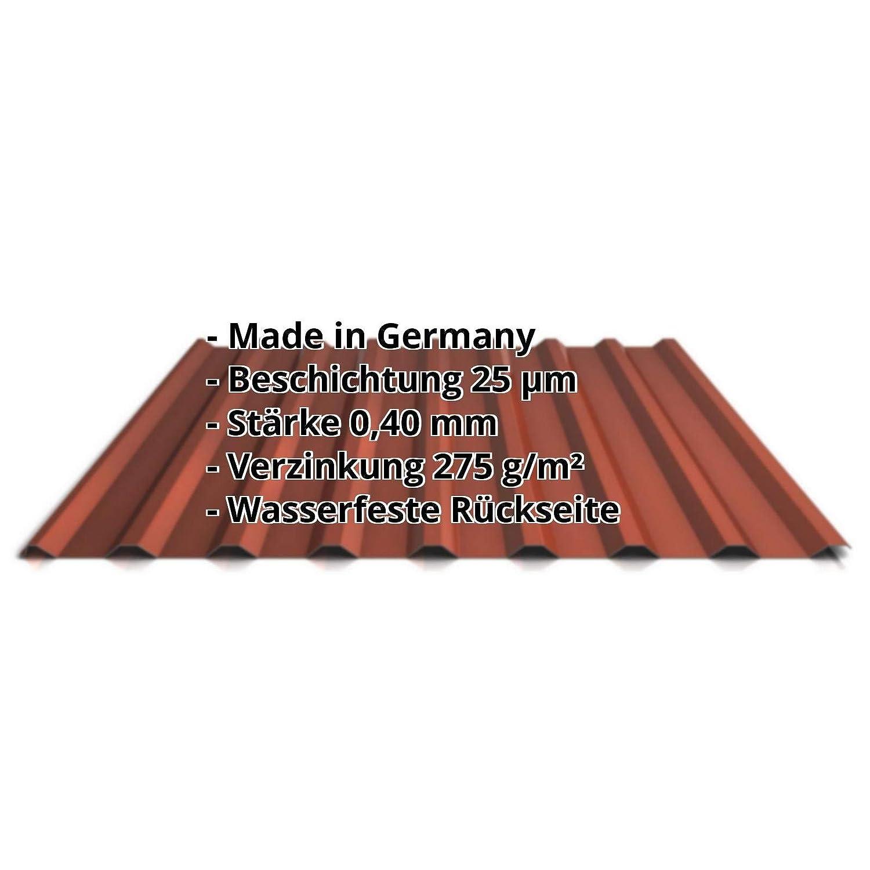 Dachblech Profil PS20//1100TR Farbe Rotbraun Material Stahl Beschichtung 25 /µm St/ärke 0,40 mm Profilblech Trapezblech