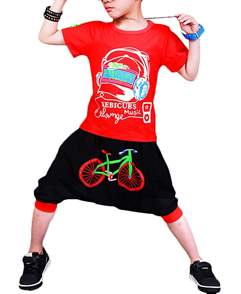 Absolufun Little Boys 2ps Fashionable Cotton Hip-Hop Haren Short Summer Outfit