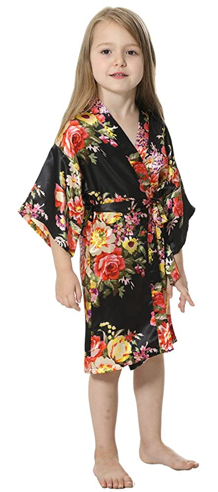 1752b0941b5 Amazon.com  JOYTTON Girl s Satin Floral Kimono Flower Girl Getting Ready  Robe For Wedding  Clothing