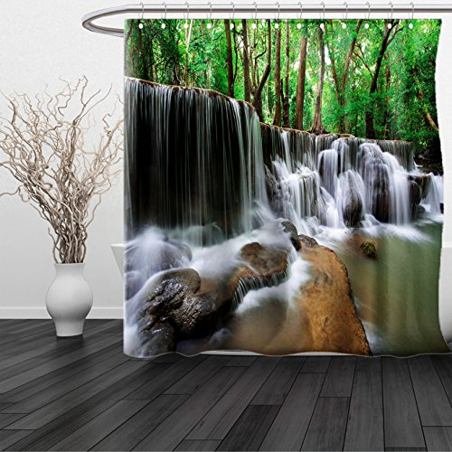 HAIXIA Shower Curtain Nature Waterfall at Forest in Tropical Environment Unusual Woodland Scenery Queen Full Forest Green Brown White (San Francisco 49ers Oval Ring)