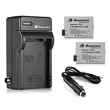 LP-E8 Powerextra 2 Pack Replacement Battery & Charger Compatible for Canon  LP-E8 and Canon Rebel T3i, T2i, T4i, T5i, EOS 600D, 550D, 650D, 700D, Kiss