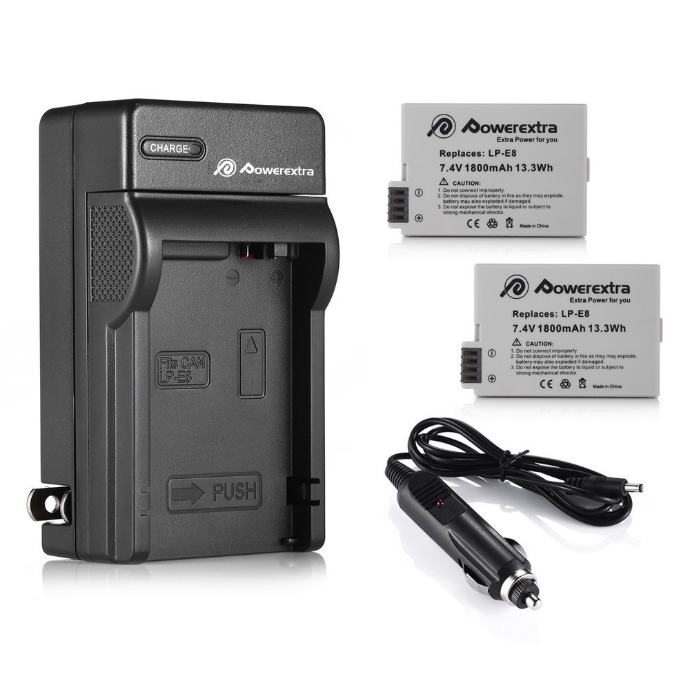 LP-E8 Powerextra 2 Pack Replacement Battery and Charger Compatible for Canon LP-E8 and Canon Rebel T3i T2i T4i T5i EOS 600D 550D 650D 700D Kiss X5 X4 Kiss X6 LC-E8E
