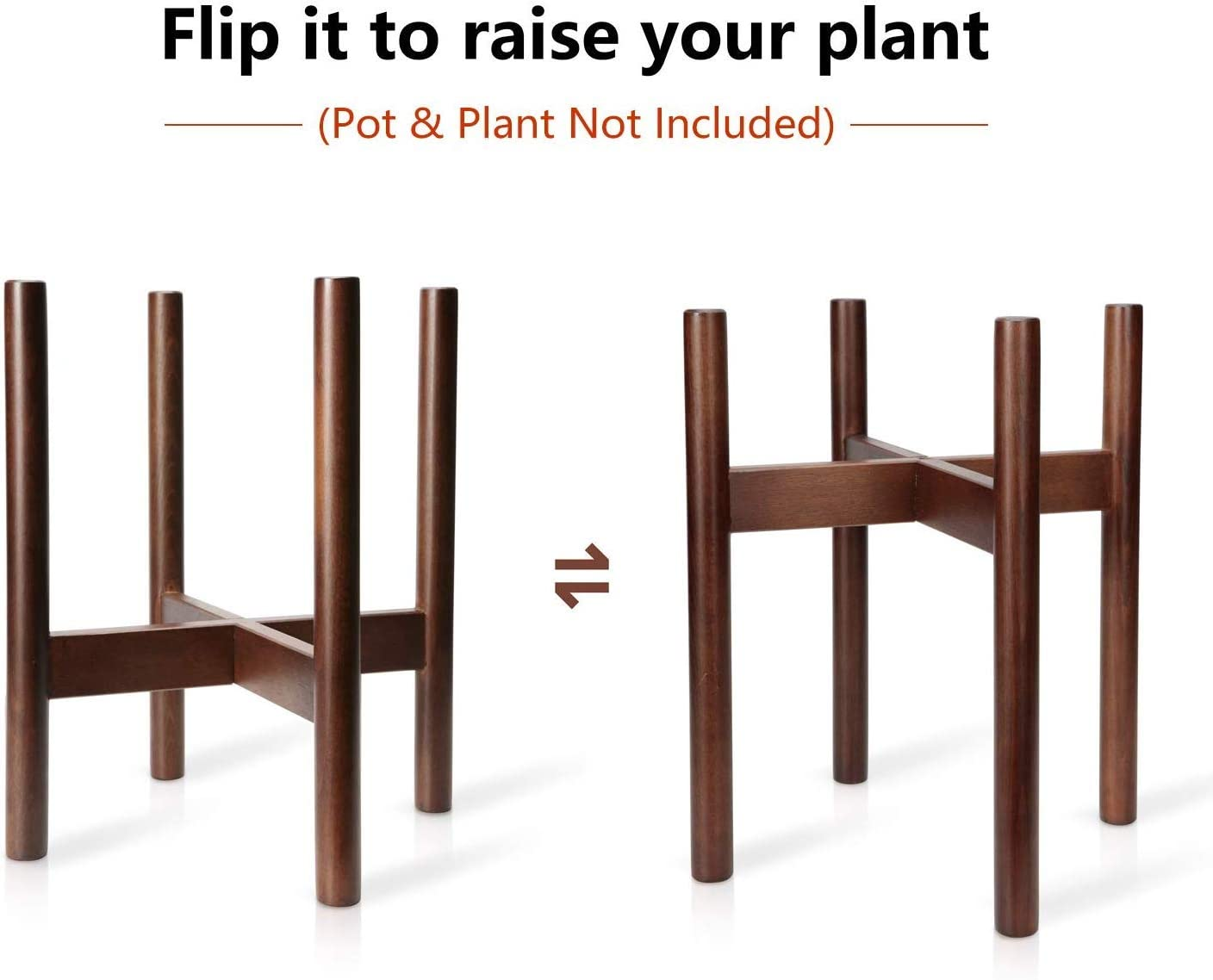 Mkono Plant Stand Mid Century Wood Flower Pot Holder (Plant Pot NOT Included) Potted Stand Indoor Display Rack Rustic Decor, Up to 10 Inch Planter, Dark Brown : Garden & Outdoor
