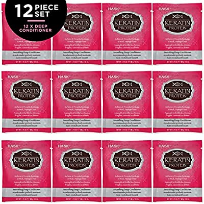 HASK KERATIN PROTEIN Deep Conditioner Treatments Smoothing for all hair  types, color safe, gluten free, sulfate free, paraben free - Set of 12 Deep