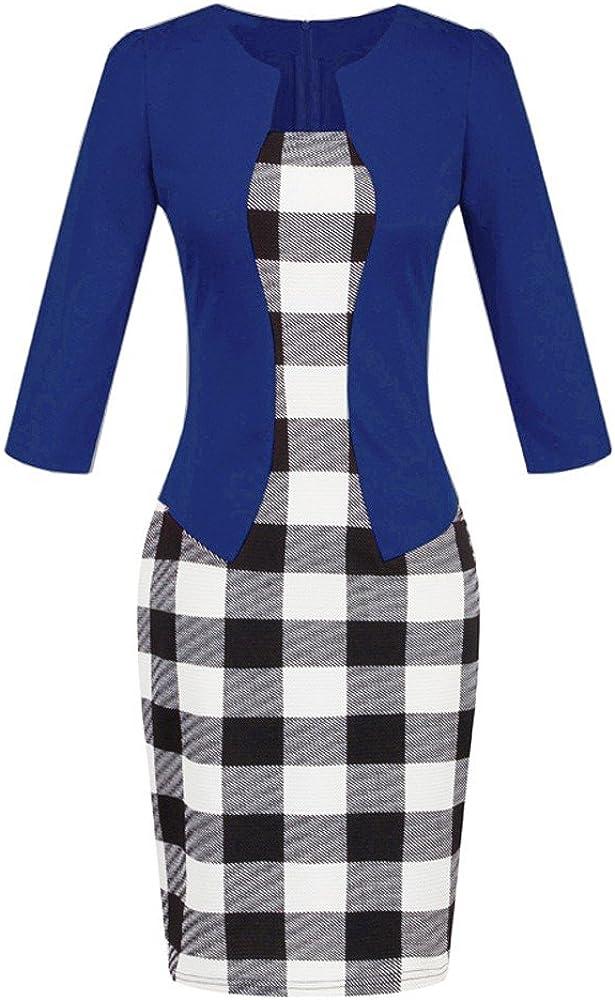 Dunacifa Women Dresses Fashion O-Neck Vintage Slim Women Solid Color Panel Dress Ladies Party Casusal Cocktail Dress