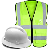 High Visibility Reflective Safety Vest+Full Brim Hard Hat White Helmet Yellow Suit for Construction