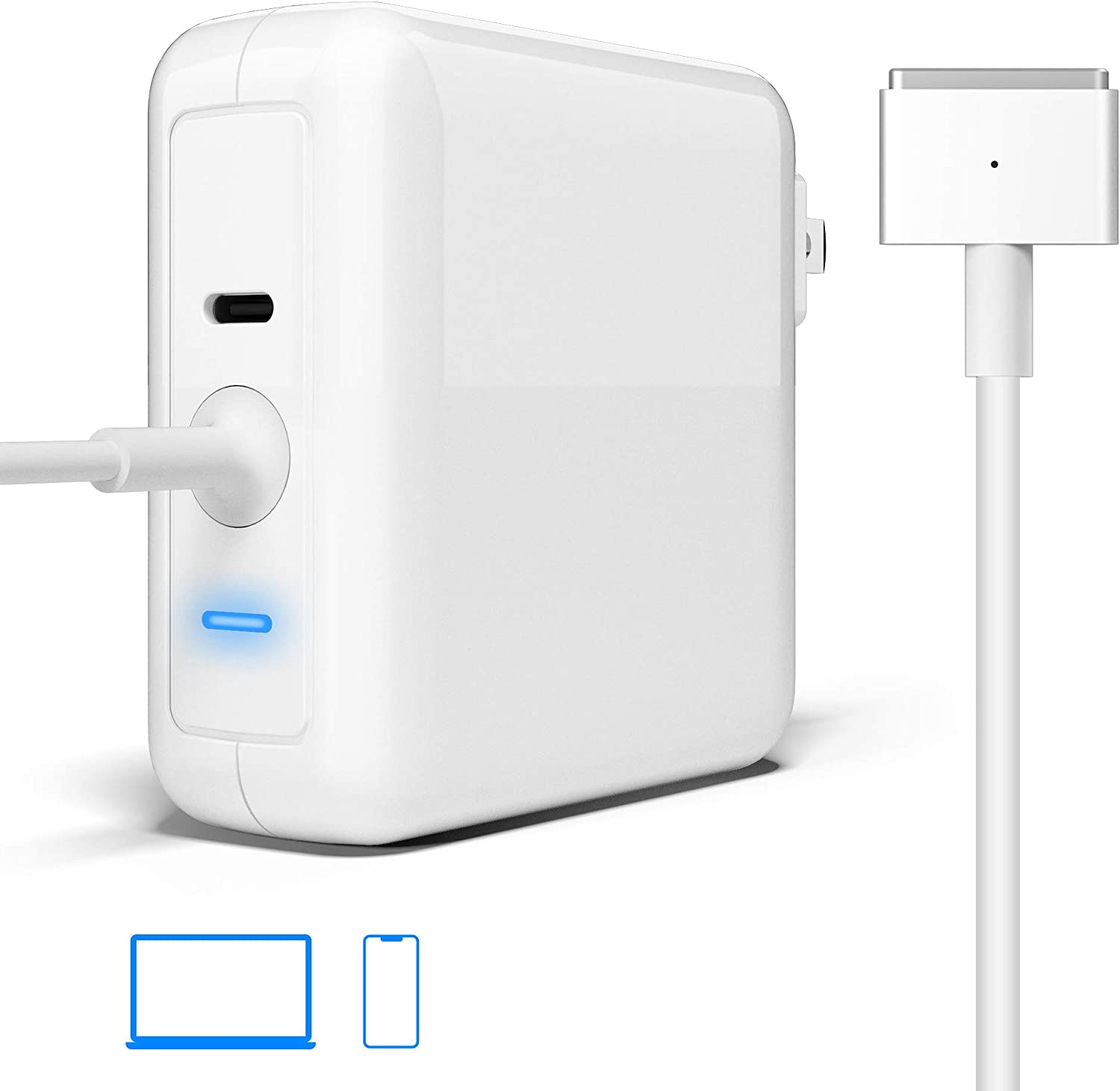 Compatible with MacBook Pro Charger, 60W T-Tip Magsafe 2 Laptop Charger Adapter Replacement Macbook Pro Charger for MacBook Pro Retina 11/13 inch| USB C 18W PD Charger |Charge Phone, Mac from One Plug