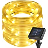 LE Cavo luminoso 10m 100LED Impermeabile, Pannello Solare 1.2V Bianco Caldo