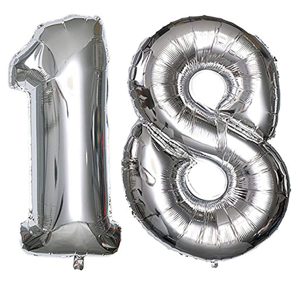 Staron Foil Balloon Numbers for Birthday Party Balloon 18th Birthday 40 Inch Giant Foil Balloon (Silver)