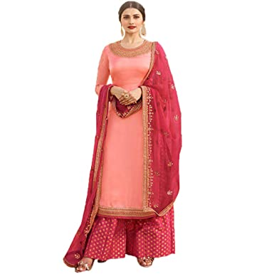 d7d0ff2fb4 S.M.Creation Women's Satin Georgette Embroidered Heavy Sharara Style  Anarkali Salwar Suit Dress Material (shiv954