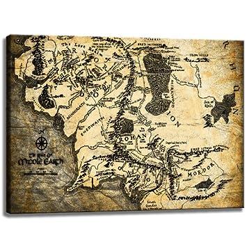 Mittelerde Karte Komplett.Mittelerde Weltkarte Herr Der Ringe Motiv Auf Leinwand Im Format 120x80 Cm Hochwertiger Kunstdruck Als Wandbild Billiger Als Ein ölbild Achtung