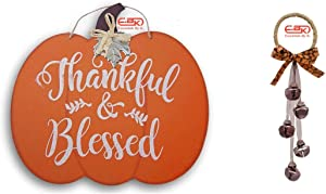 Holiday Fall Harvest Thanksgiving Home Thankful & Blessed Pumpkin Wooden Wall Plaque Decorative decoration Decor Sign and Floral Garden Autumn Door Hangers with Bells, 11 in. Includes Color Your Own Ornament Crafter's Choice Decoration -Thankful Bless Brown Bell