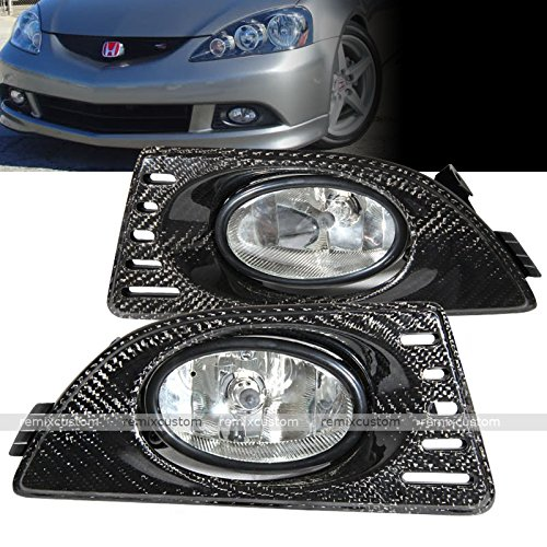 05 06 Acura RSX DC5 Real Carbon Fiber Clear Fog Lamp Lights Kit