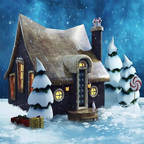 LFEEY 10x10ft Fairy Tale Snow Gingerbread Cottage Backdrop Snow-Covered Christmas Trees Lollipops Winter Snowscape Photography Background Photo Studio Props