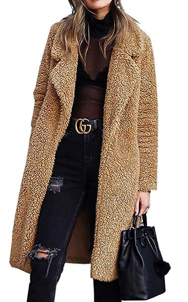 Women's Fuzzy Fleece Lapel Open Front Long Cardigan Coat Overcoat Faux Fur  Warm Winter Outwear with Pocket