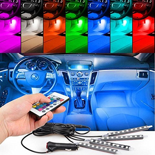 Car LED Strip Light, HengJia Auto Parts 4pcs 36 LED Multi-color Car Interior Lights Under Dash Lighting ,Waterproof Kit with Multi-Mode Change and Wireless Remote Control Car Charger Included,DC 12V