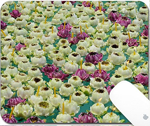 Luxlady Natural Rubber Gaming Mousepads Floating lotus with candle 9.25in X 7.25in IMAGE: (Blossom Floating Candles)