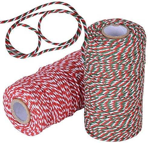 100m*2 Rollos,Cuerda Hilo Cordel Algodón para Envolver Regalo Navidad Manualidades Costura Jadin Artesanía Rojo Blanco Verde (diámetro 2 mm): Amazon.es: Hogar