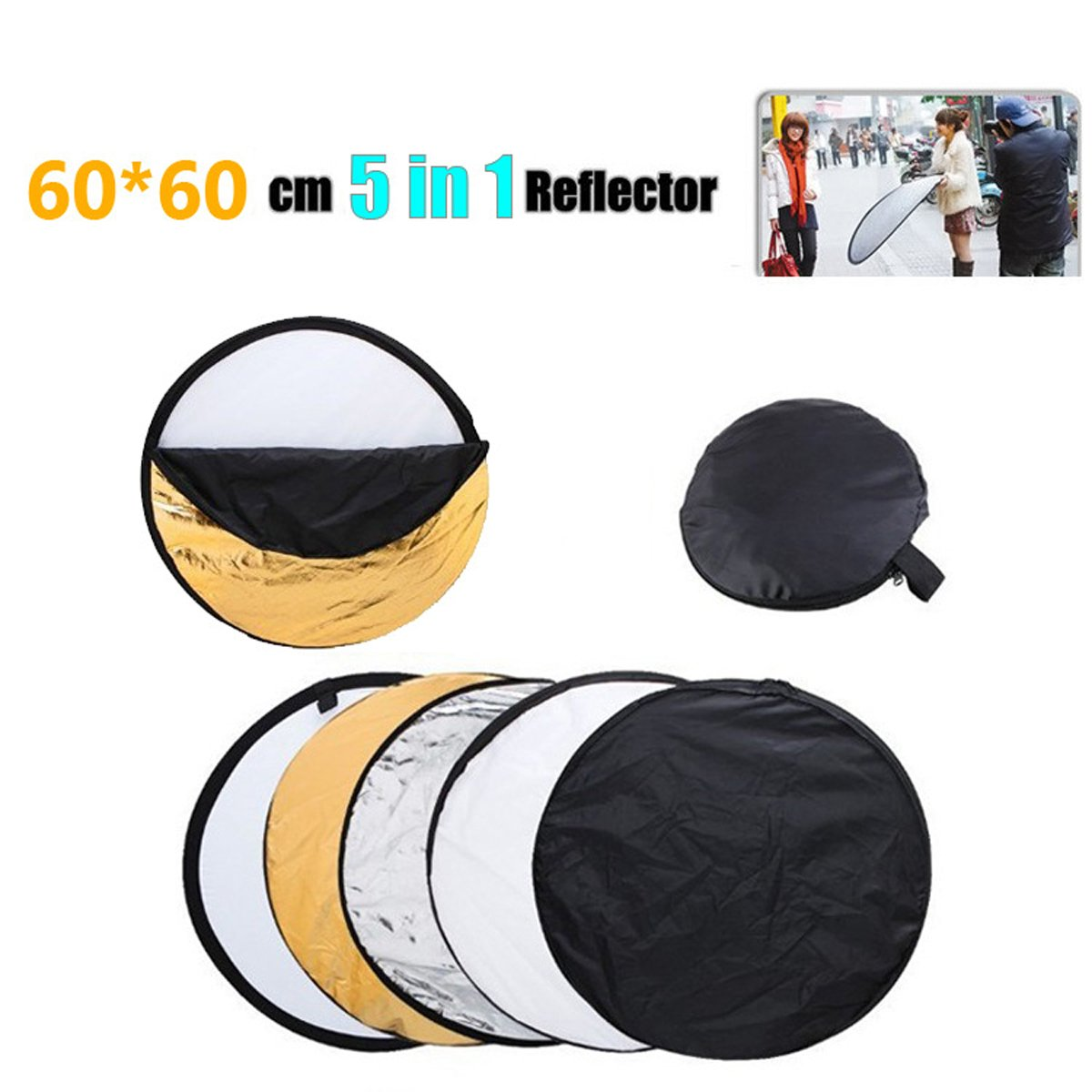 """TECHSON 24"""" (60cm) Collapsible Multi Disc, 5 in 1 Photo Light Reflector with Bag, Photography Accessories (Gold, Silver, White, Black and Translucent)"""