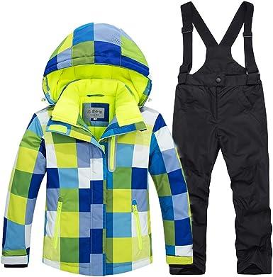 LSERVER Enfant Vêtement de Ski Veste Pantalon