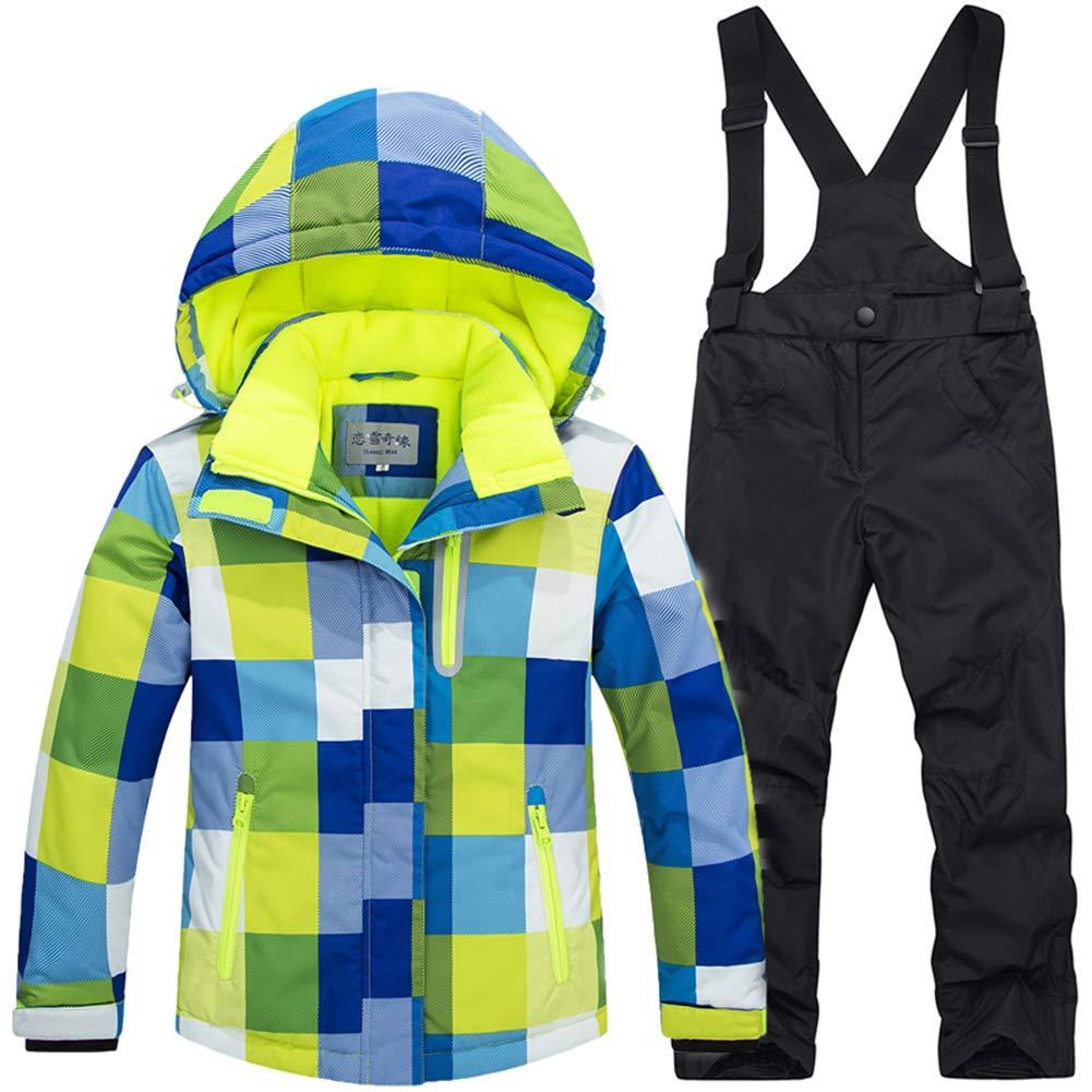 LSERVER Bambini Inverno Caldo Cappuccio Snowsuit Bambino Infante Antivento e Impermeabile & Snowproof Giacca da Sci + Pantaloni 2 pz Impostare HX6307F