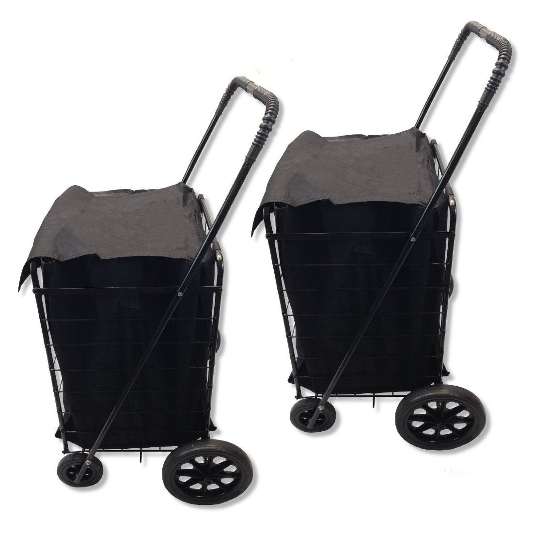 DLUX Set Of 2 Extra Large Heavy-Duty Black Folding Utility Cart Folds Up Rolling Storage Shopping Carrier from DLUX (BLACK) with BONUS LINER
