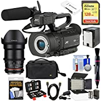 JVC GY-LS300CHU Ultra 4K HD 4KCAM Super 35 Pro Camcorder & Mic Handle Unit with 35mm T/1.5 CINE Lens + 128GB Card + Battery + Case + Video Light Kit
