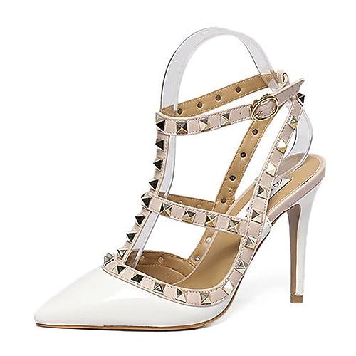 ec3c73b918 fereshte Women's Rivet Ankle T-Strap Pointy-Toe Slingback Stiletto Heeled  Dress Pumps White