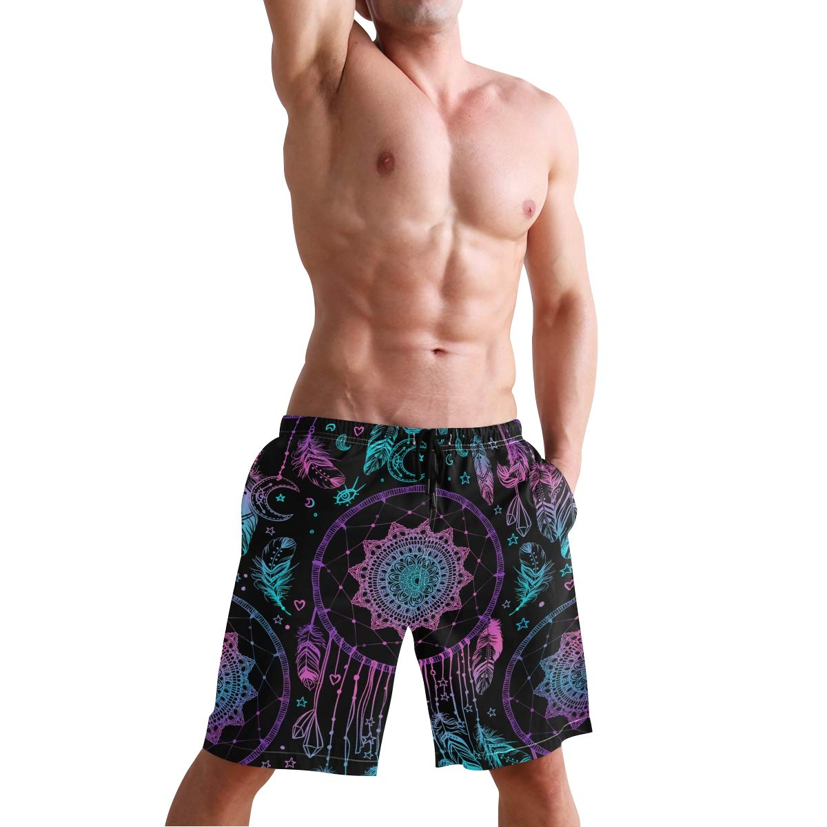 CENHOME Mens Swim Trunks Indian Dream Feathers Purple Blue Beach Board Shorts