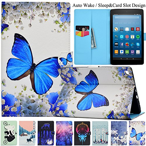 Kindle Fire HD 8 Case,Artyond PU Leather Cover [Card Slots ] with Smart Magnetic Snap Auto Sleep/Wake Feature Protective Case for Amazon Kindle Fire HD 8 2016/2017 Release (Big Butterfly)