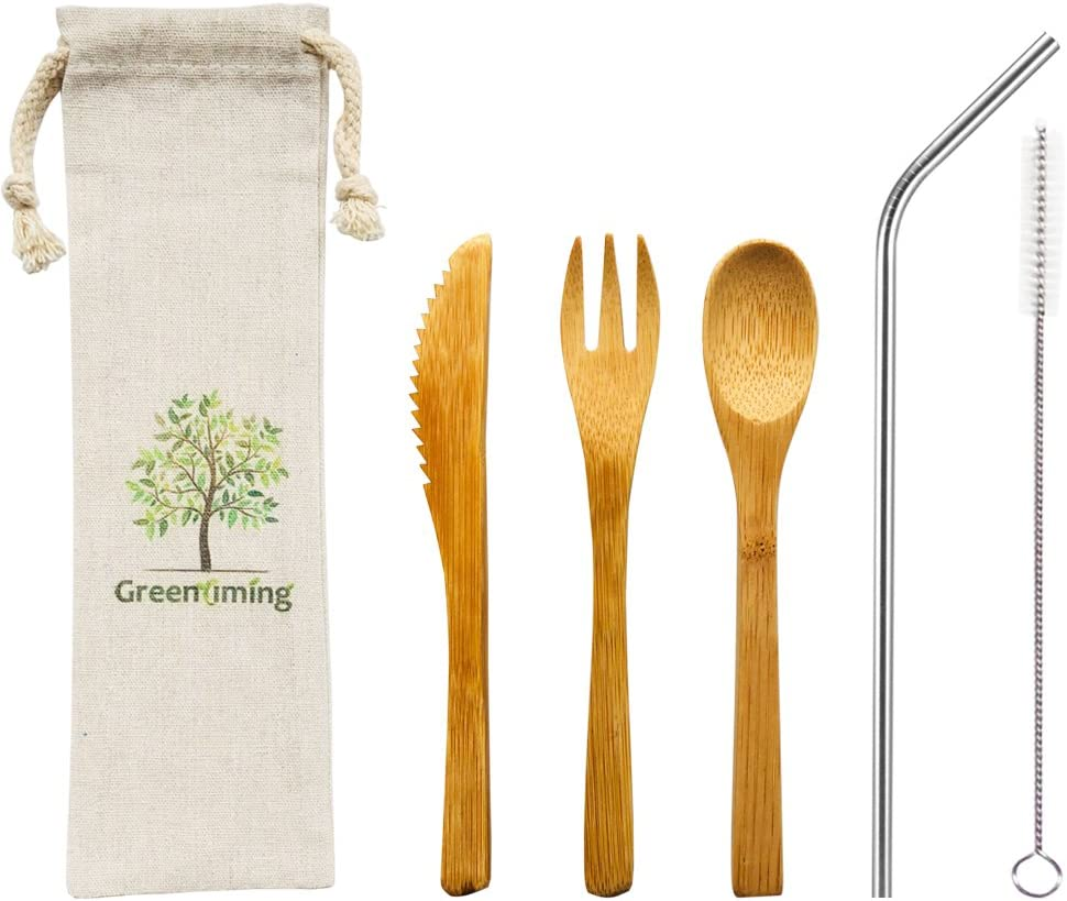 Bamboo Utensil Set Zero Waste Kit Reusable Travel Cutlery Pouch Eco Friendly Wooden Tableware Set Plastic Free To Go Utensils