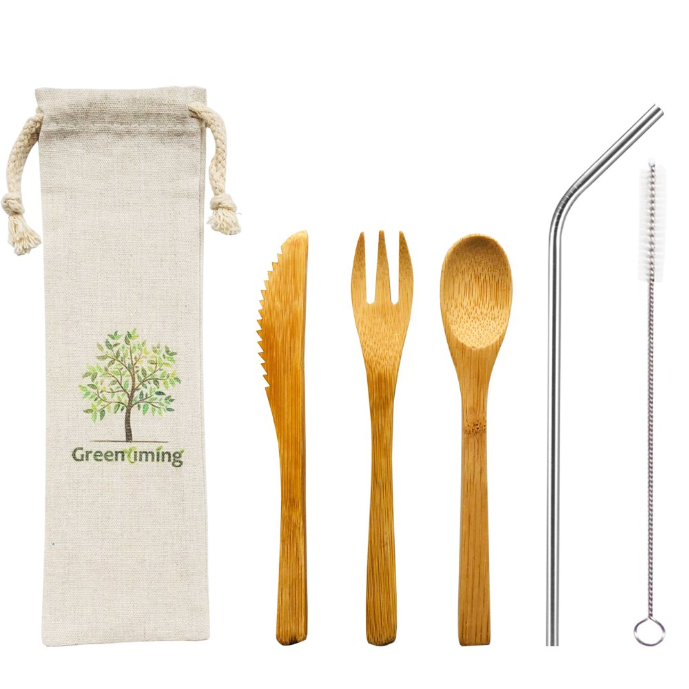Reusable Bamboo Utensils Cutlery for Kids - 6 inch Travel Cutlery Set with Fork, Knife, Spoon and 8.5 inch Stainless Steel Metal Straw with brush cleaner in pouch,To go Camping Shool Cutlery kit