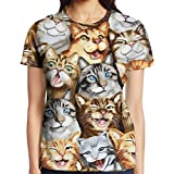 Funny Kitten Women's Classic Graphic Tee Crew Neck Baseball Tees