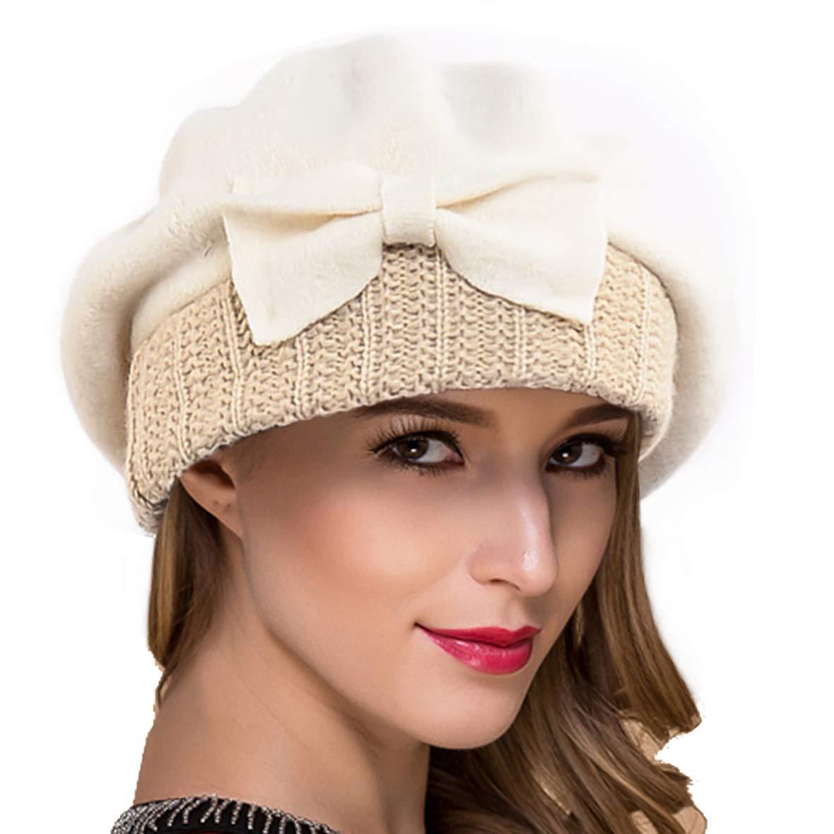 Ruphedy Women French Beret Knit Wool Beret Beanie Winter Dress Hats Hy022 (Cream)