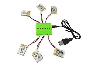 Fytoo 6Pcs 3.7V 150mAh Lipo Batería y 6 en 1 Cargador para JJRC H8 ...