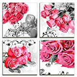 Wall Decor Modern Painting Canvas Wall Art Red Rose Gray Wall Pictures Print On Canvas - 4 Panel Art Prints Flower Wall Art For Bedroom And Home Decorations Office Decor(12''x12''inch x 4 Panel)