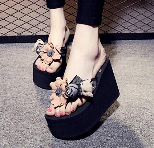 Platform Summer DANDANJIE Chanclas Black Pink 11cm Negro Zapatos Sandals Beach Bohemia Pantuflas Handmade Wedge Flowers caseros Chanclas y Heels Mujer para rxXwtqX