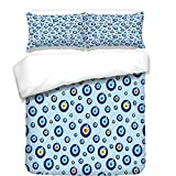 iPrint 3Pcs Duvet Cover Set,Evil Eye,Traditional Protection Symbols on Dotted Backdrop Kids Childs Celebration Theme,Multicolor,Best Bedding Gifts for Family/Friends