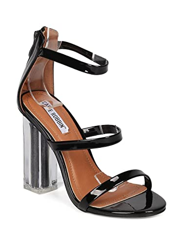 c41464c33f7 CAPE ROBBIN Women Patent Leatherette Triple Band Glitter Core Lucite Block  Heel HJ16 - Black Patent