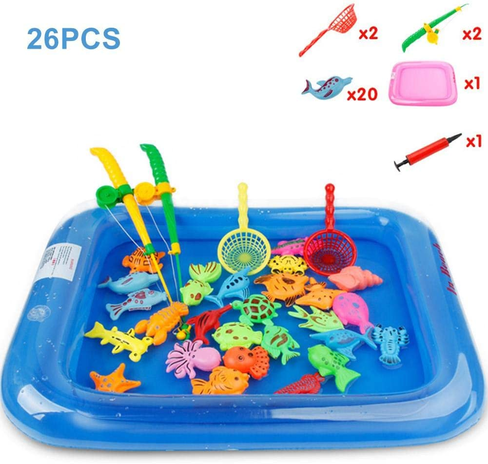 26PCS Magnetic Fishing Toy Floating Fishing Game Kids Bath Toys, Floating Fishing Game Set With Pole Rod Net, Plastic Floating Fish Toddler