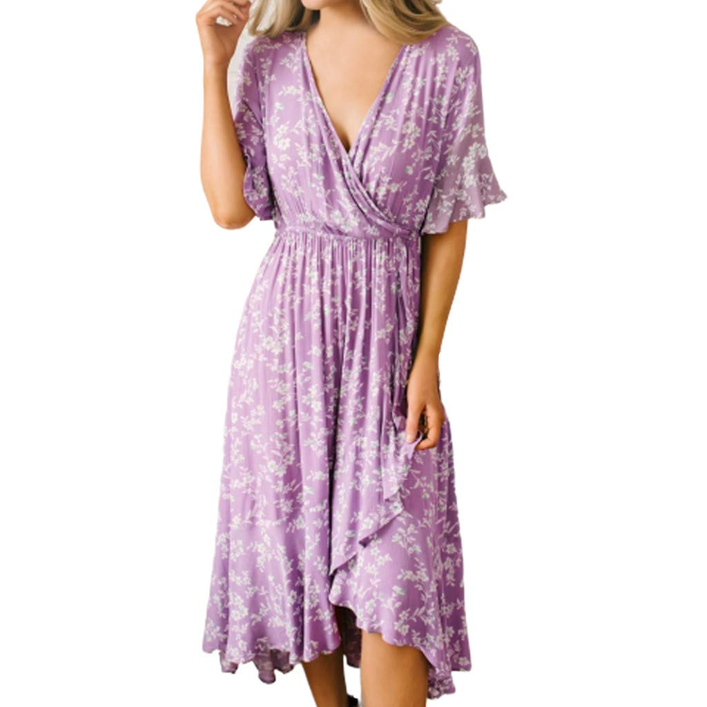 Women's Purple Flare Ruffle Short Sleeve High Split Irregular Hem V Neck Maxi Dress
